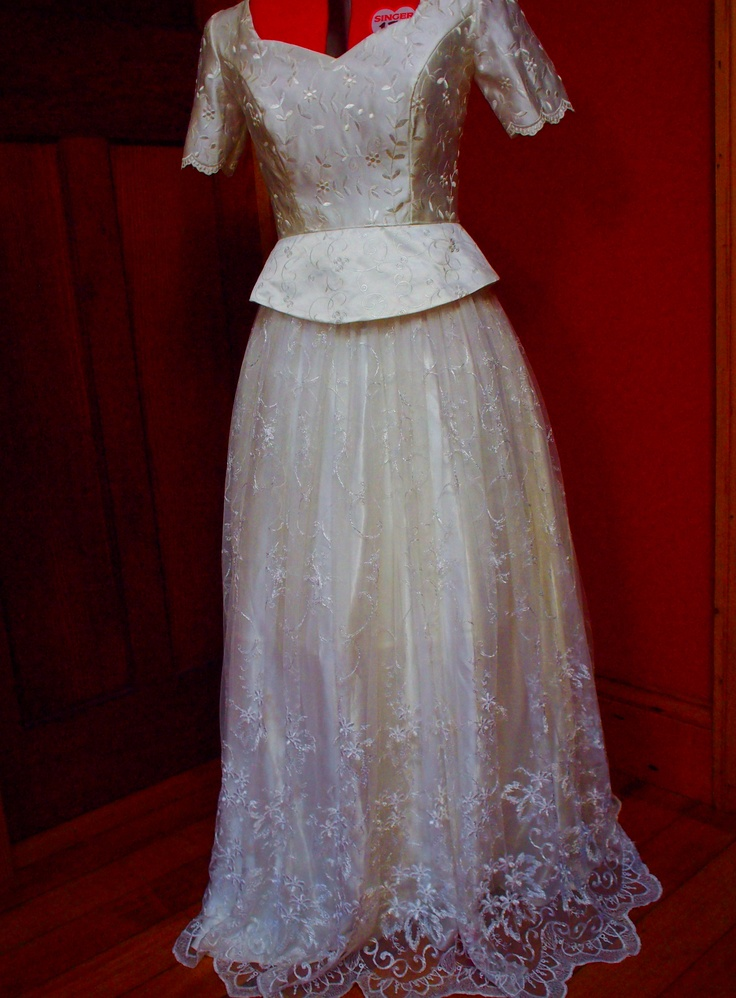 My latest creation a peplum style lace and satin wedding gown