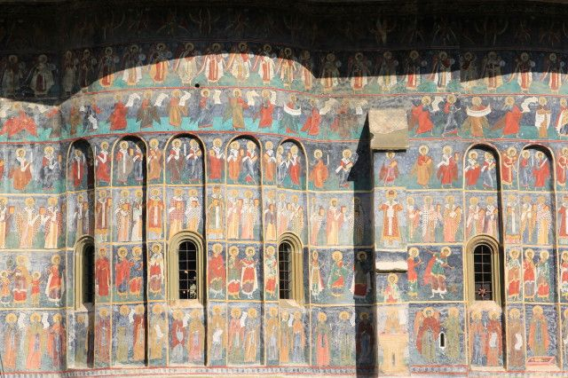 Side of monastery in the northern Romania province of Moldova, hand painted in the 15th century.