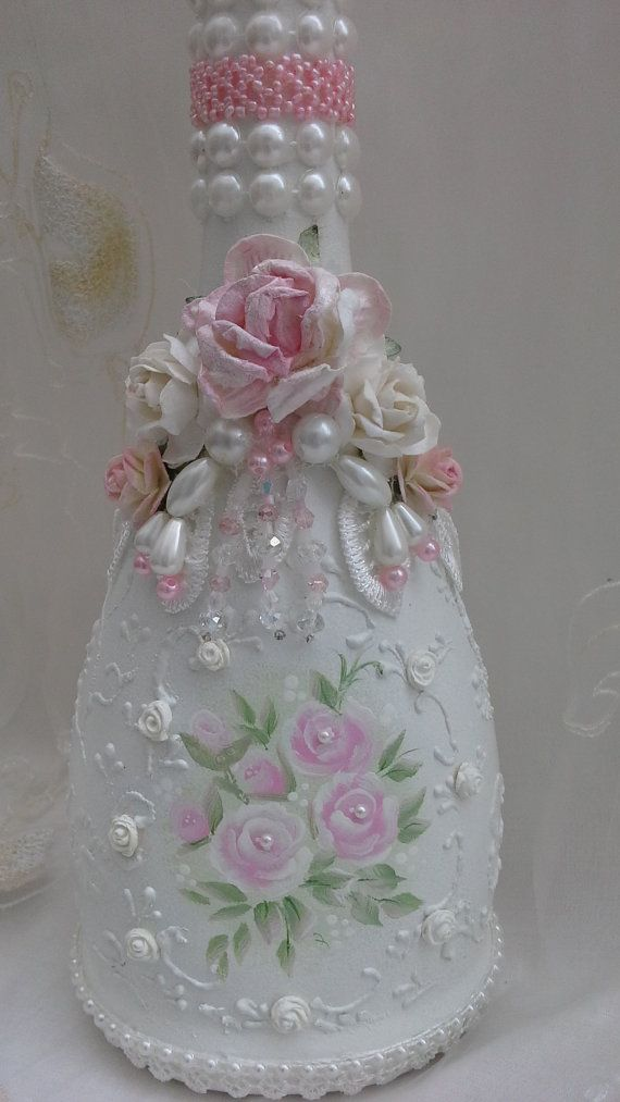 Botella decorativo estilo shabby chic botella decorada por Aligri