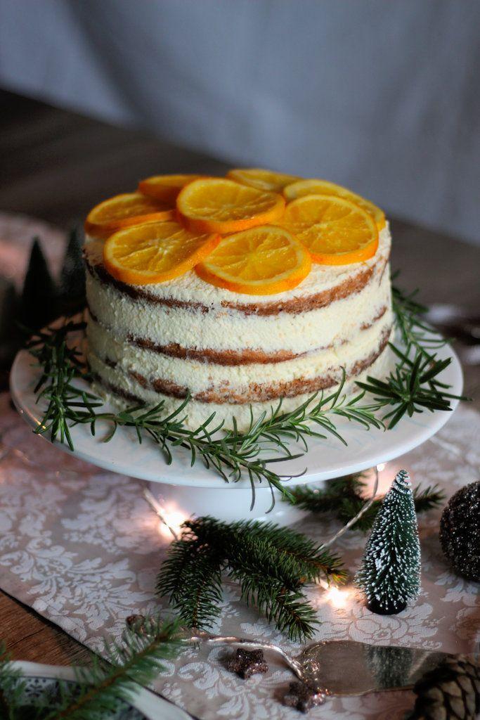 Rezept für Orangen Cointreau Torte mit kandierten Orangen / Torte Weihnachten / Weihnachtstorte