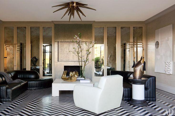 Kelly Wearstler Designs a Glamorous Bel Air Home : the herringbone-pattern floor is stained walnut.