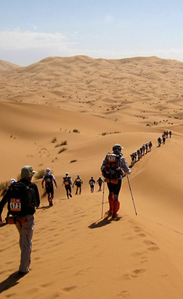 Marathon Des Sables - the toughest footrace on Earth, set in the Sahara desert http://whenonearth.net/marathon-des-sables-killer-race-sahara/