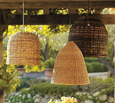 Wicker lights.: Pendants Lamps, Wicker Baskets, Hanging Lights, Wicker Pendants, Pendants Lights, Furniture Ideas, Lights Ideas, Outdoor Lights, Pottery Barns