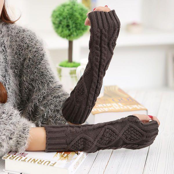 Women Winter Warm Knitting Fingerless Long Sleeve Gloves Casual Rhombic Pattern Gloves at Banggood
