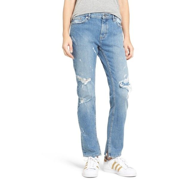 Women's Cheap Monday 'Common' Destroyed Boyfriend Jeans ($105) ❤ liked on Polyvore featuring jeans, editor, straight leg jeans, distressed jeans, boyfriend jeans, relaxed fit jeans and destroyed boyfriend jeans