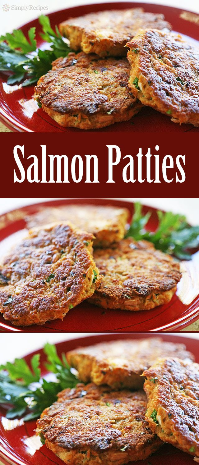 Quick and EASY salmon patties! With cooked salmon, bread, green onion, dill, bell pepper, egg, and paprika. ~ SimplyRecipes.com