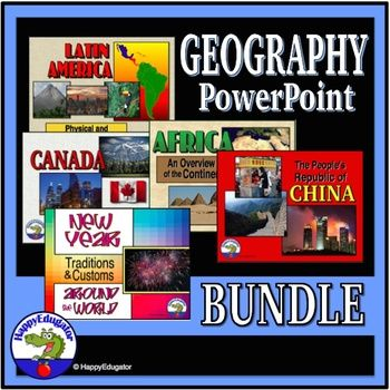 Social Studies Geography Around the World PowerPoint Bundle. Includes 5 Informational PowerPoints. All About Africa, China, Latin America, and Canada, and New Year Around the World.. Great for interactive whiteboards and good for review of parts of speech, usage, grammar