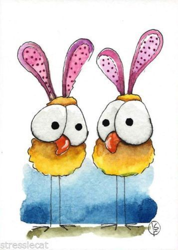 ACEO-Original-watercolor-art-whimsical-animal-painting-birds-Easter-Chickens