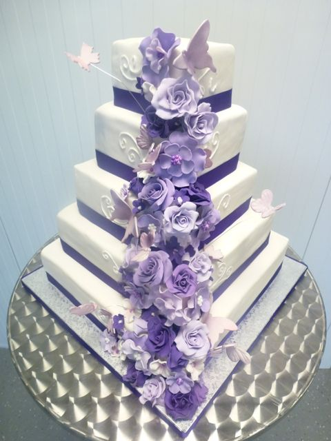 Purple Square Wedding Cake but without the butterflies