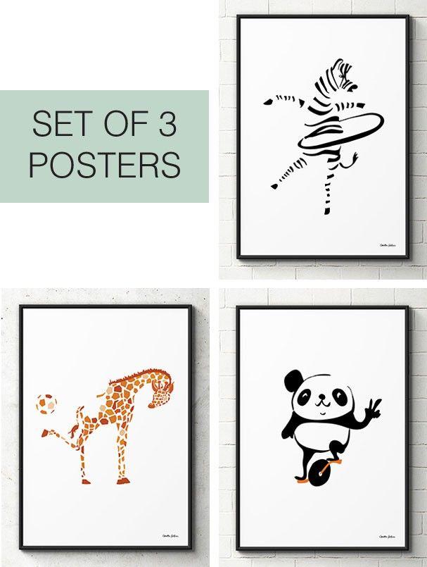 3 Sporty Species posters -Paketpris