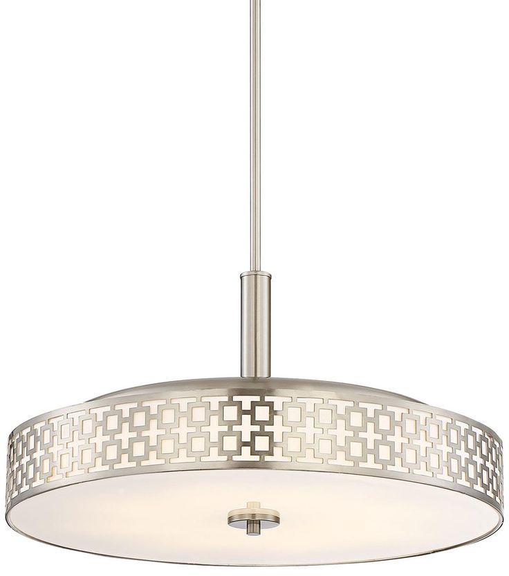 "Possini Euro Tambor Trellis 20""W Brushed Nickel LED Pendant"