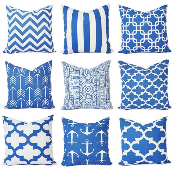 two cobalt pillows blue pillow covers blue quatrefoil decorative throw pillows couch pillows accent pillow blue trell