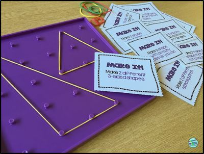 2D Geometry - Are you looking for engaging math centers that are no prep for you and that your students will love to use?  My first graders loved this center and the 11 other centers that are part of this resource.  Click now to see all the fun activities included. #geometrycenters #mathcenters #2Dgeometry #handsonlearning