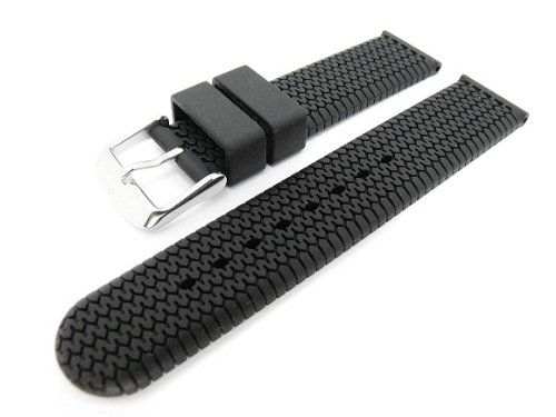 Men's Rubbertech Silicone Rubber Watchband Stainless Steel Buckle. Black 18mm JP Leatherworks http://www.amazon.com/dp/B001HAM74E/ref=cm_sw_r_pi_dp_x3h3vb06YNKBM