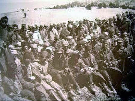 The Labour Battalions (Amele taburlari) or Death Battalions as they were better known. Of the 3000 Greeks in the Labour Battalion of Kydonies (Ayvalik) only 23 survived.  Photo; unverified www.greek-genocide.net