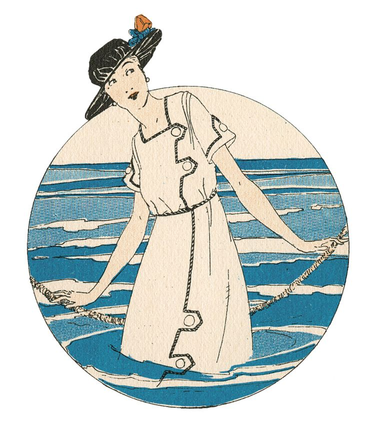 Vintage Clipart Bathing Beauty In The Waves