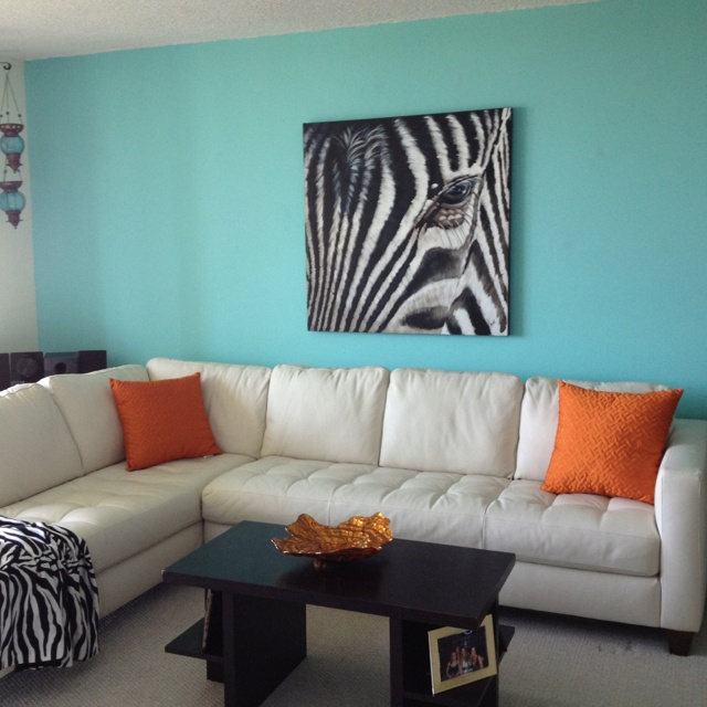 My Tiffany Blue Living Room Minus The Zebra Painting Orange Cushions And