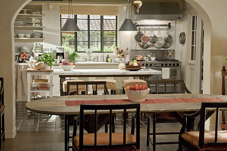 "Kitchen from the movie ""Its Complicated"".  LOVE it.  I'm personally not a fan of the huge new kitchens we see so much of today with hearth rooms.  I love the size, and its just beautiful with the large windows.  It did have a pantry that would help here for sure!"