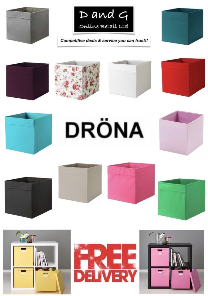 IKEA DRONA Box Fabric Storage Expedite Kallax Shelving Boxes Magazine Toys Books