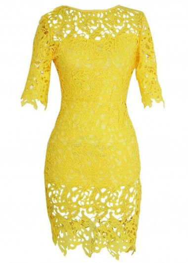 Yellow Crochet Lace Bodycon Dress Sale On www.lulugal.com