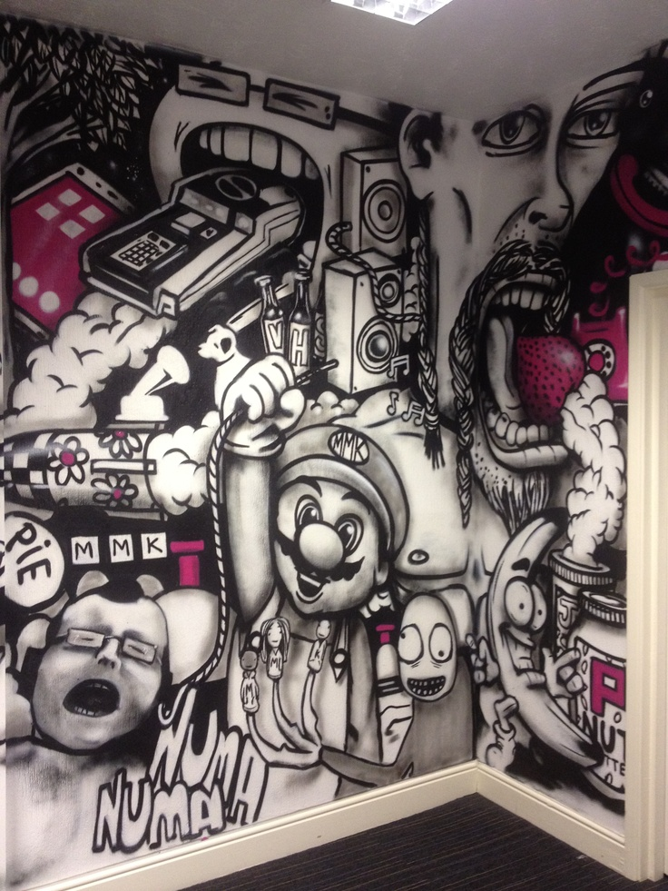 Graffiti art on the wall of MMK Media, painted by Anok