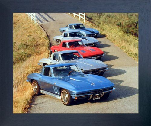 check out this beautiful chevy corvettes in a row vintage car art print framed poster