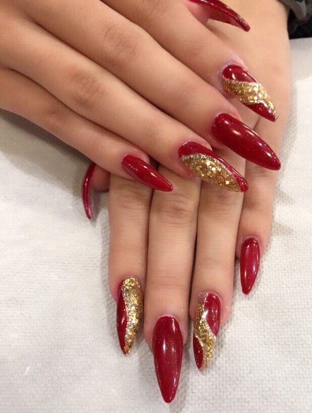 Gold And Red Nails : nails, Glitter, Nails,, Acrylic, Nails