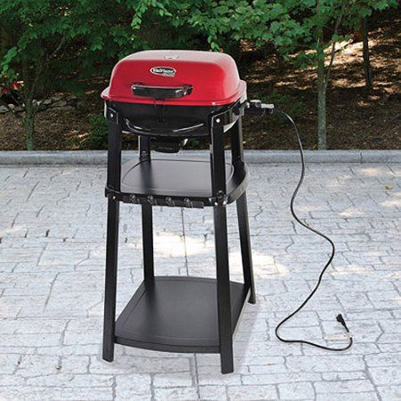 Uniflame Portable Electric Grill with Stand, Red Sedona