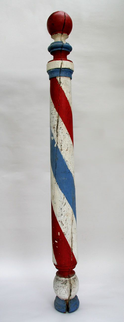 Antique Barber Pole, wood, now considered folk art .... May 2012