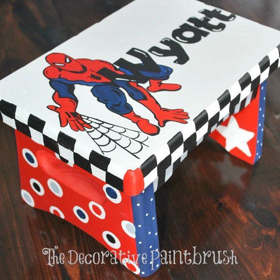 Painted Stool Childs Foot Stool by TheDecorativeBrush on Etsy, Personalized and csutomized children's foot stools