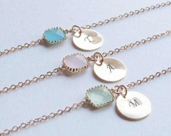 Birthstone & Initial Bracelet- Personalized Bracelet-Birthstone Bracelets-Monogram Bracelet-Bridesmaids Bracelets. on Etsy, $18.00