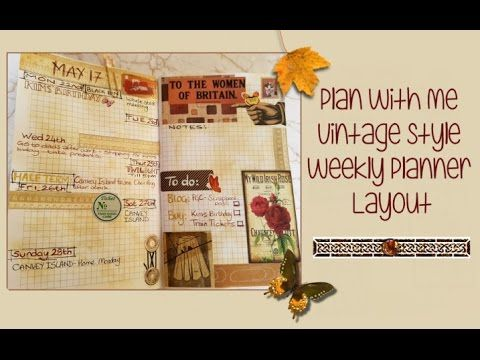 Plan With Me Vintage Style Weekly Planner Layout - Process video - Kerrymay._.Makes