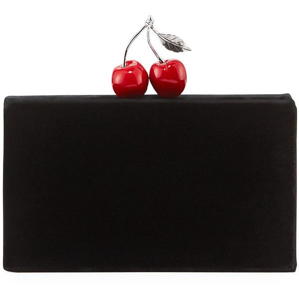 Edie Parker Jean Cherry Velvet Clutch Bag found on Polyvore featuring bags, handbags, clutches, black, handbags clutches, hard clutch, hand bags, clasp handbag, man bag and cherry purse