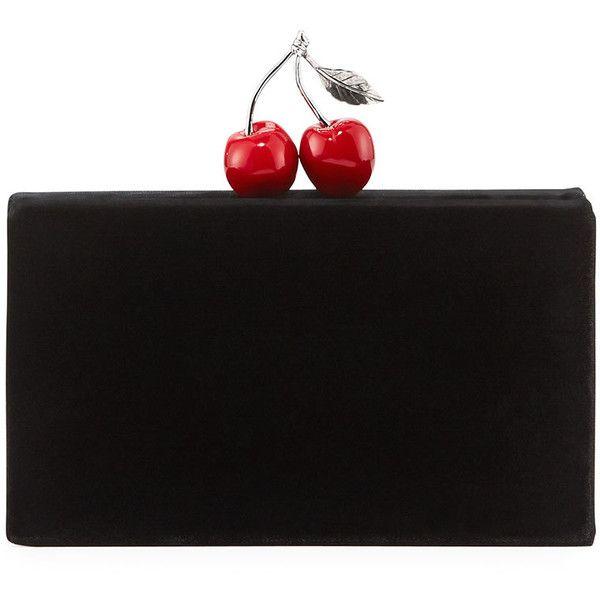Edie Parker Jean Cherry Velvet Clutch Bag featuring polyvore, women's fashion, bags, handbags, clutches, black, handbags clutches, clasp handbag, edie parker, handbag purse, hand bags and box clutch