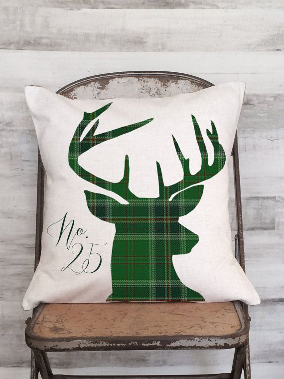 Pillow Cover Holiday Green Plaid Woodland Deer by JolieMarche