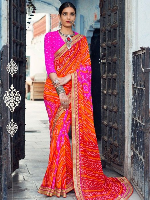 Printed Pink Orange Georgette Saree