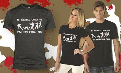 Zombie Chase t shirt funny tripping shirt classic funny undead zombies tee