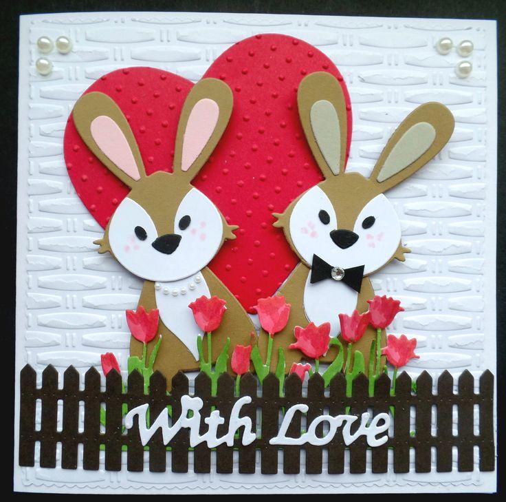 S164 Hand made Valentine Card using Marianne Bunnies