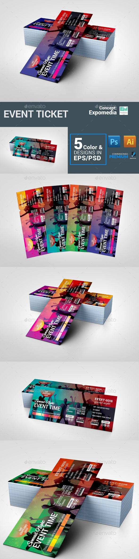 Event Ticket  — PSD Template #nightclub #shows #summer #series #concert tickets…