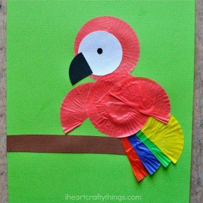 Cupcake Liner Parrot Kids Craft