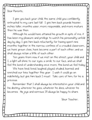 Teach it With Class: End of the Year Parent Letter