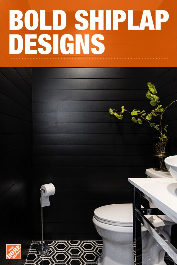 Be bold with midnight shades of primed shiplap wall paneling in your bathroom space. This refresh is sure to make a sleek and stylish impression with everyone. We partnered with blogger Nicole White to design this bathroom. Click to explore Nicole's project.