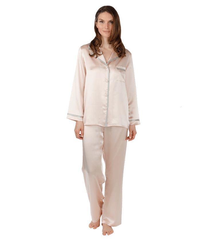 Bedtime staples become daytime favorites, as seen in Elle and O magazine.  These beautiful silk charmeuse pajamas are tailored to be both elegant and comfortable.  The pant waist has elastic in the back and a tie front. 100% Silk.  Made in Canada.