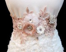 Румяна Розовый Свадебные Sash Свадебный пояс цветок 3D аппликация горный хрусталь жемчужина для новобрачных бисера
