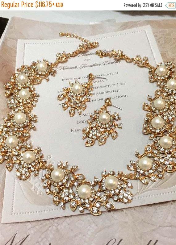 bridal jewelry set, Bridal necklace earrings, back drop necklace, pearl jewelry set, crystal jewelry set, wedding jewelry, Rose gold jewelry
