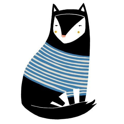Stripey Black Cat Card by blackoutwell on Etsy, £2.00