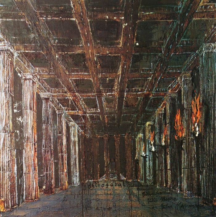 Anselm Kiefer | Heliogabal 1983 Oil, emulsion, woodcut, shellac, acrylic and straw on canvas 280 x 280 cm