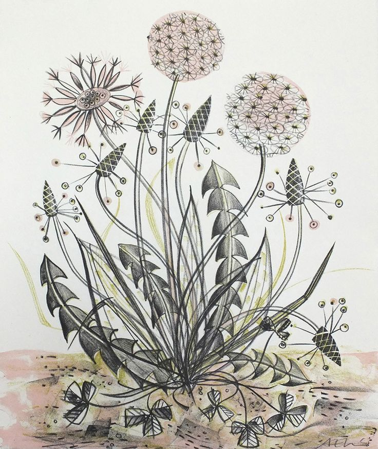 Angie Lewin - By The Track - lithograph print