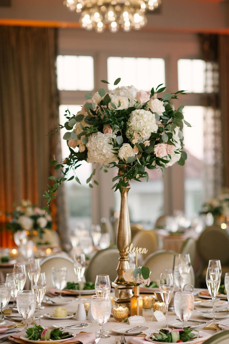Blush and Gold Wedding Reception Table Decor with Tall White Hydrangea and Pink Rose with Greenery Bouquet in Tall Gold Vase | Tampa Bay Boutique Hotel Wedding Venue The Birchwood