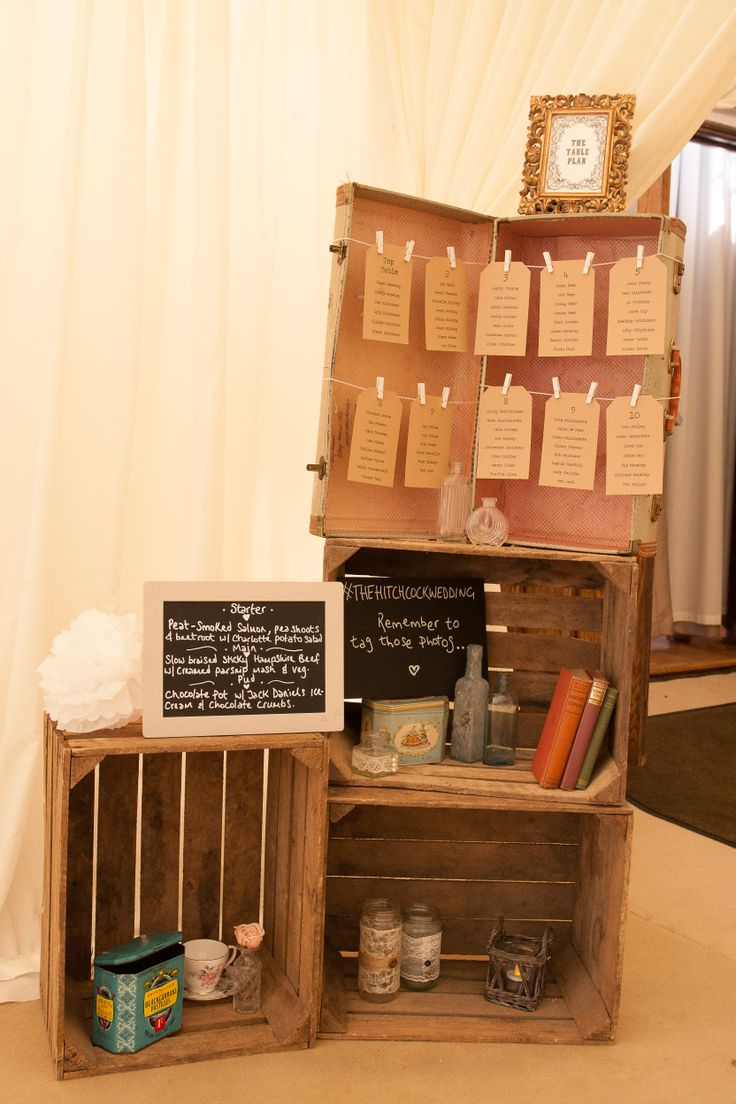 Vintage Table Plan & Crates supplied by Beyond Vintage - #thehitchcockwedding